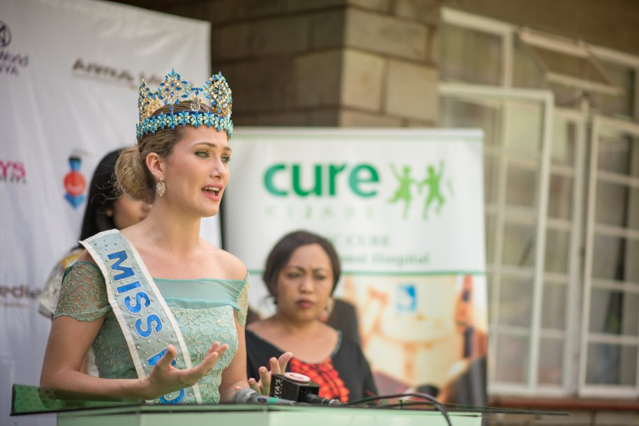 A word to the world about CURE Kijabe. Miss World held a press briefing before she left.