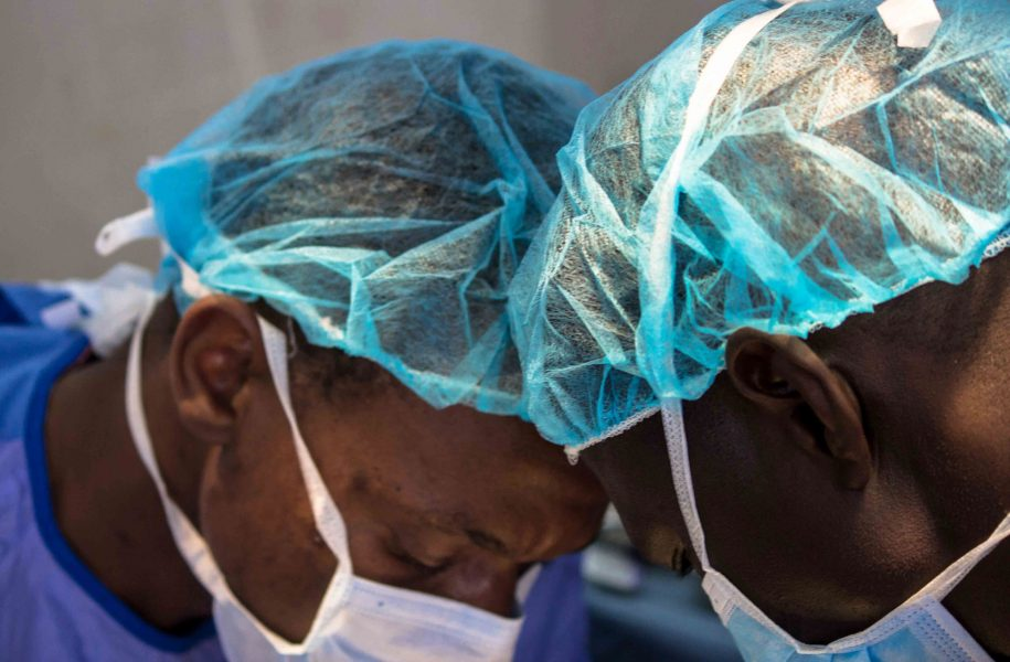 Dr. Moyo and Dr. Vhunda take extra care and concentration when they carry out surgeries.