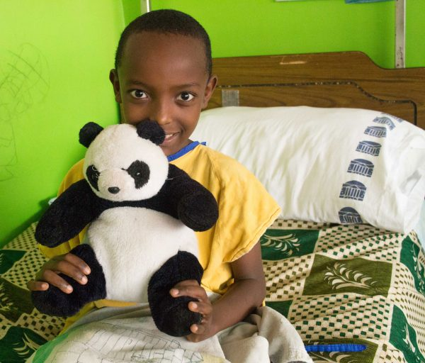 Dinkalem came back for another procedure and was happy to have his stuffed animal waiting for him!