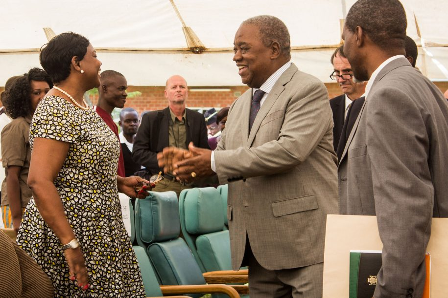 The fourth president Mr Rupiah Banda meets the third first lady Mrs Maureen Mwanawasa at the celebrations.
