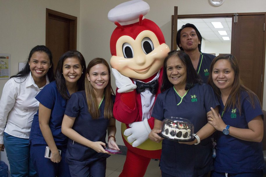 The Jollibee is a famous fast food chain where the Bee is almost always in a kid's party, and with a childlike heart, Nurse Delia got to celebrate when the Bee came to visit!