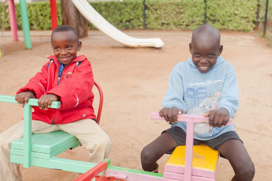 Riko (on the right) and his friend are having a lot of fun on our teeter totter.