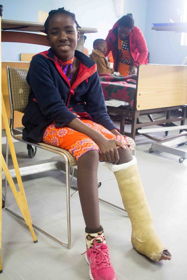 Nsama asked for her picture taken in her cast before they removed it because she wanted to remember how it looked when it changed color.