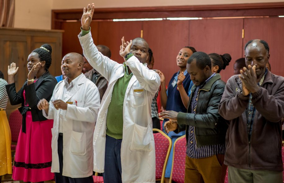 The praise and worship session is the favourite for a lot of staff members at the hospital.