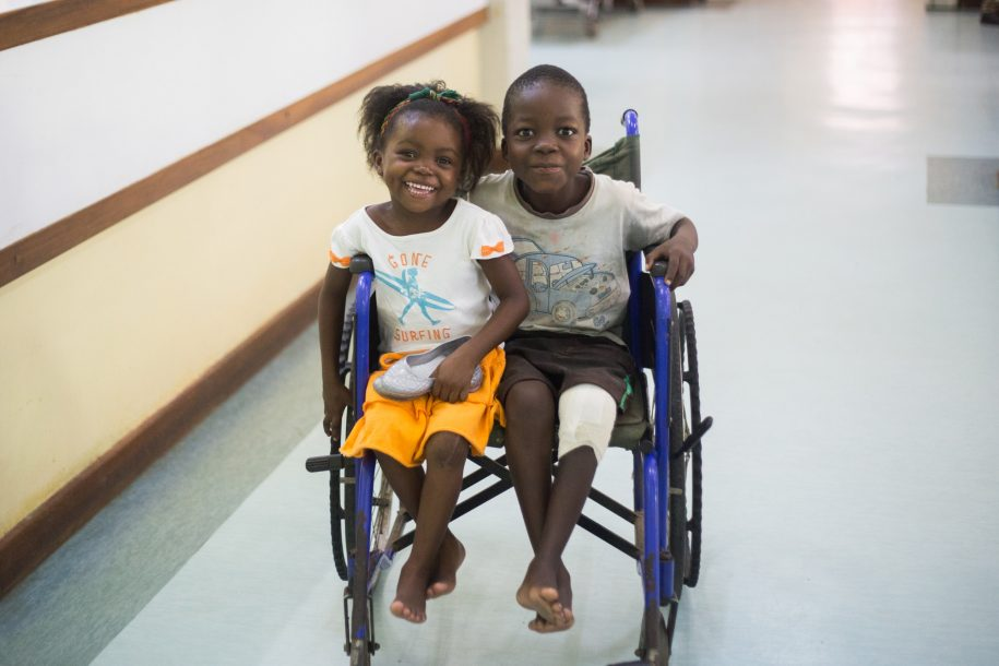 Hendrina and Kennedy are still small enough to fit two to a wheelchair. Although neither of them really need it!