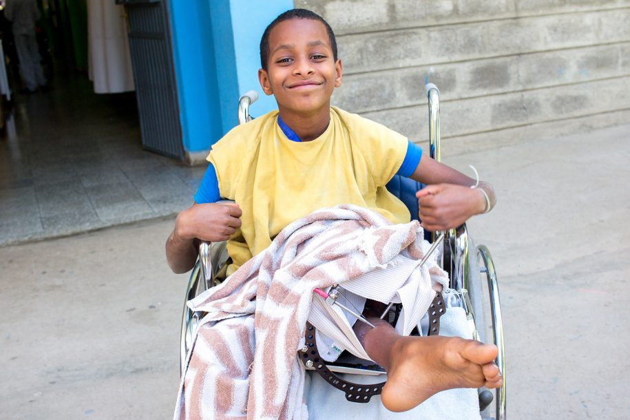 Birhanu loves wheeling around the ward! We caught him outside  enjoying the beautiful day!