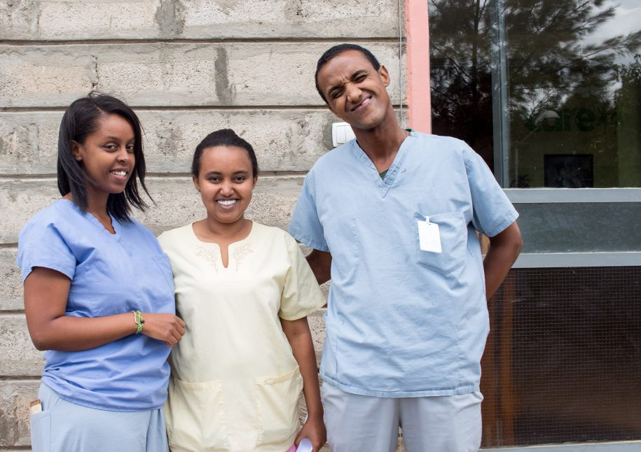 Our head OPD Nurse Tigist (left), Head Ward Nurse, Sami (far right) took a moment to be silly and pose with Nurse Ayantu. It's her last day before she goes off to continue her education for a master's and what better way to depart then with joy!