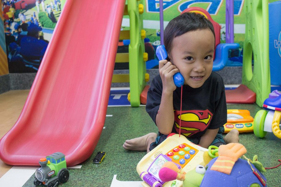We called Joshriel and asked if he'd be willing to help us man the playroom. That wasn't a hard request for him!