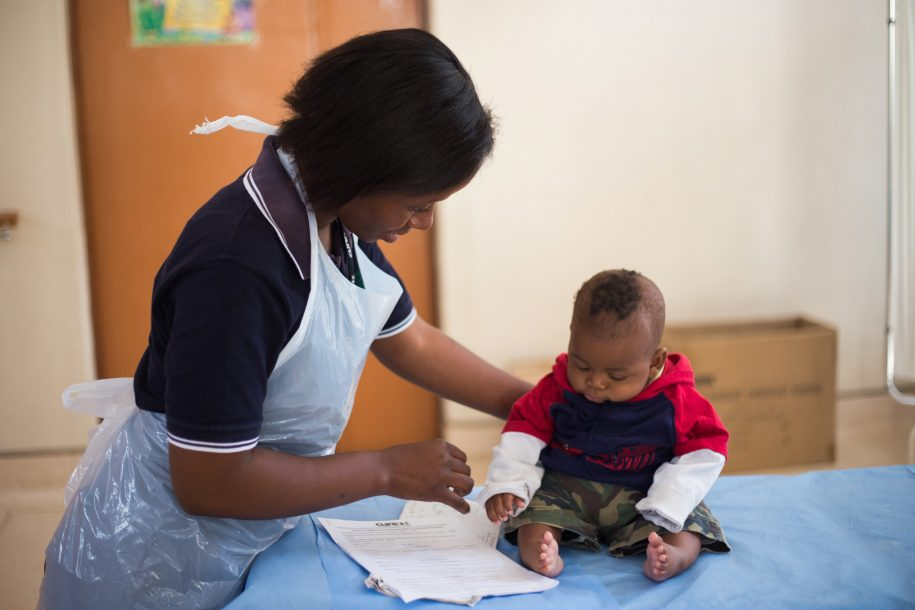 Physio Diana evaluates this little boy's clubfoot.